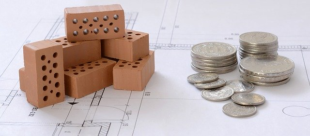 financování bydlení, projekt, cihly, mince